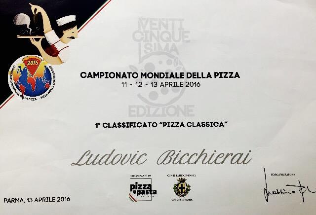 Certificat de champion du monde de la pizza classique à Parme 2016 de Ludovic Bicchierai