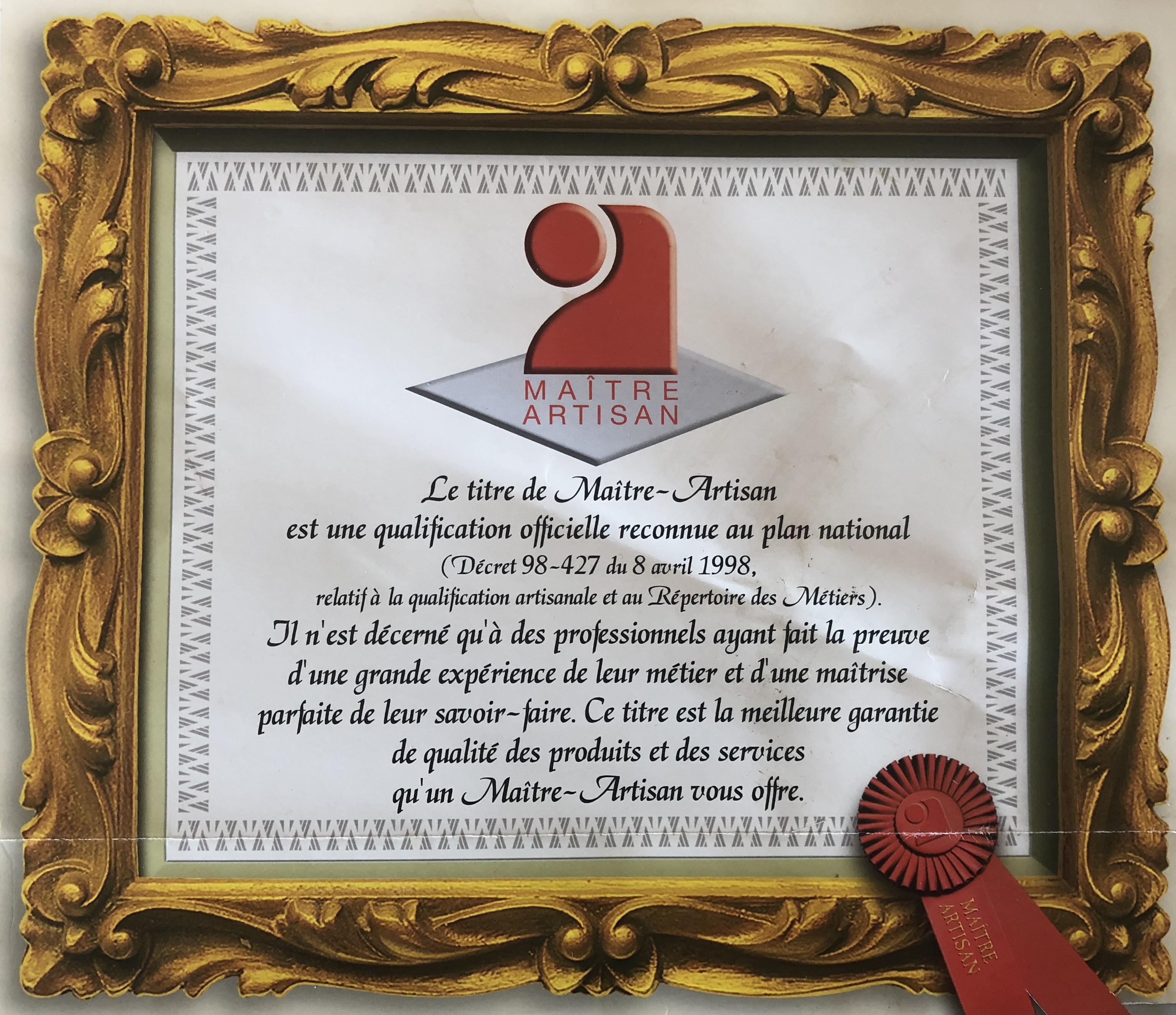 Certificat de maitre artisan de Ludovic Bicchierai pour l'école de pizzailo CFNP